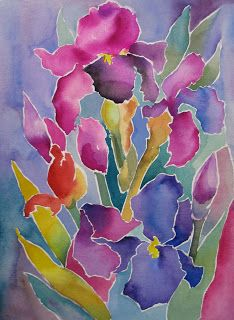 Nel's Everyday Painting: Watercolor Play- Stained Glass Irises - SOLD