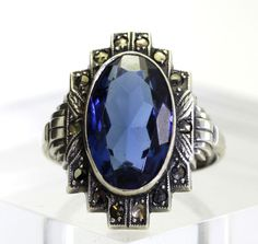 Vintage Oval-Cut Blue Cubic Zirconia w/ Marcasite Accents Sterling Silver Ring