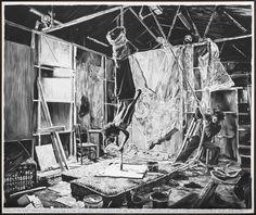 RINUS VAN DE VELDE An investigation into the hyperpersonal ..., 2015 210 x 250 cm charcoal on canvas, artist frame