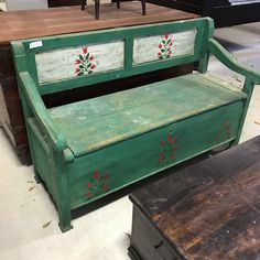 Antique Storage Bench In Original Green With Hand Painted Red Tulips.
