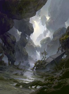ArtStation - Magic the Gathering: Basic Lands, Tianhua Xu Fantasy Art Landscapes, Fantasy Landscape, Landscape Art, Fantasy Concept Art, Fantasy Artwork, Fantasy Places, Fantasy World, Illustration Fantasy, Art Environnemental