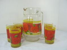 Vintage RED ROSE JUICE Pitcher & Tumbler Glass Tumbler Roses
