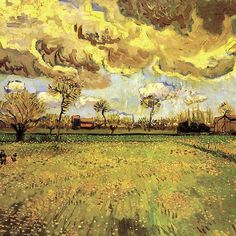 Landscape under a stormy sky. Vincent van Gogh. Impressionism fine art.  The most beautiful summer stormy sky in van Gogh's imagination.