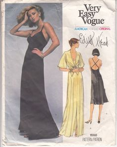 Vogue Edith Head Dress Evening Bridal Loose Fitting Jacket Sew Pattern 1560 S 12 #vintageVogue #EdithHeaddesign