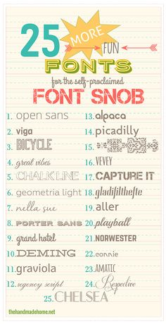 25 More Free Fonts - The Font Snob  ~~ {w/ easy download links - many free for Commercial Use}