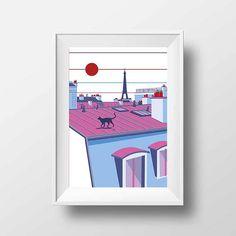 Affiche Illustration Paris  Poster Montmartre les Toits et Ia