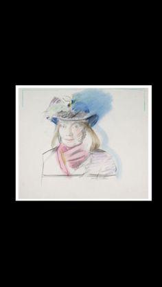"""Larry Rivers - """" Niki de Saint Phalle """", 1987 - Colored pencil on paper - 55,2 x 63,5 cm (*)"""