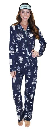 "PJ Salvage Playful Prints ""But First, Coffee"" Cotton Pajama in Navy"