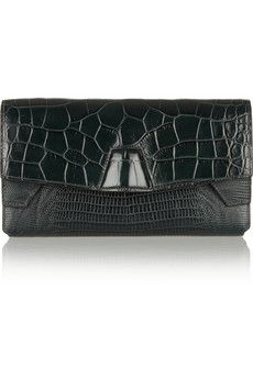 Alexander Wang Tri-Fold croc-effect leather clutch | THE OUTNET