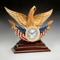 Limited Edition American Eagle Chelsea Clock, featuring original wood carvings in the style of famed nautical wood carver John Haley Bellamy.