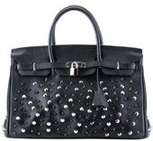 H World Cowhide Leather Studded Bag Black for only $179.50