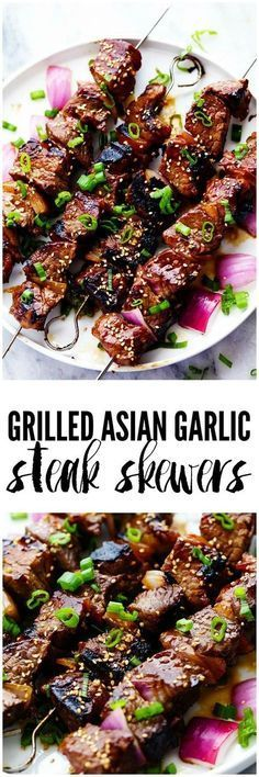 Grilled Asian Garlic Steak Skewers are marinated in a delicious asian sesame sauce and grilled to tender and juicy perfection! Grilled Asian Garlic Steak Skewers are marinated in a delicious asian sesame sauce and grilled to tender and juicy perfection! Steak Recipes, Grilling Recipes, Cooking Recipes, Healthy Grilling, Barbecue Recipes, Chicken Recipes, Vegetarian Grilling, Barbecue Ribs, Cooking Bacon