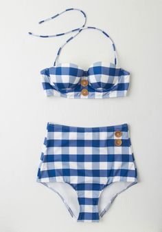 Pool Party Picnic Swimsuit Top in Blue Gingham. Nothings better than a poolside fete with friends - especially when this checkered bikini is involved, with its blue and white hues and darling wooden buttons! #blue #modcloth