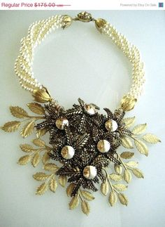 Golden Shadow Huge Fantasy Flower Statement Necklace -    This stunning piece was influenced by all the vintage Greats who made huge, and not so