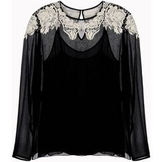 Stella Mccartney Beckett Top Lace Embroidery Top ($338) ❤ liked on Polyvore featuring tops, blouses, ivory, sheer blouse, ivory blouse, see through blouse, embroidered blouse and lace collar blouse