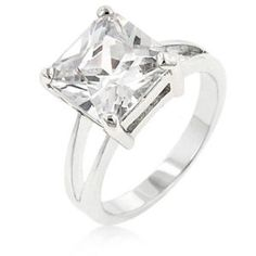 Princess Cut Silver Engagement Ring Cocktail Cubic Zirconia Size 9 10 USA Seller #Cocktail