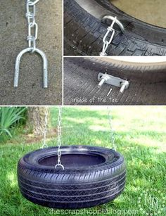 We grabbed an old tire from the neighbor, now just need to find the perfect branch!