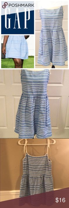 Gap Chambray Sundress Super cute Chambray and White striped sundress, piping detail and bow tie straps make this a perfect dress for summer, last photo is from catalog, white shown, this dress is blue! EUC no trades! GAP Dresses Mini