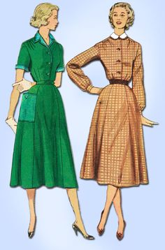1950s Vintage Simplicity Sewing Pattern 4438 FF Misses Shirtwaist Dress Size 18