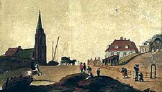 De Keizerstraat gezien vanaf het strand in 1815; links de Oude Kerk; rechts de Armenbrug, het Kalhuis en het Heerenlogement.
