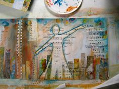 step-by-step art journal page love this silhouette on top of layers