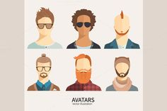 Set of avatar icons. by goodreason on Creative Market