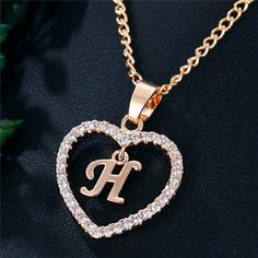 Best Seller Romantic Love Pendant Necklace For Girls 2019 Women Rhinestone Initial Letter Necklace Alphabet Gold Collars Trendy New Charms Letter Pendant Necklace, Letter Pendants, Initial Pendant, Love Necklace, Simple Necklace, Necklace Types, Initial Necklace, Fashion Necklace, Fashion Jewelry