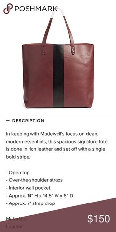 MADEWELL • Paint Stripe Transport Leather Tote c6c3f91eac