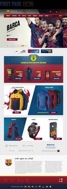 Barca Store Pitch by Nicu Razvan, via Behance Website Layout, Web Layout, Layout Design, Web Sport, Sports Website, Sports Graphics, Ui Web, Behance, Fc Barcelona