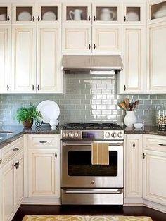 Home decor and design photos | Home Decor and Design  I love the windows in the top cupboards!