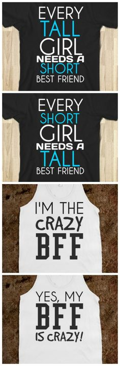 Clothing T-Shirts and Fashion Archives Collectors Deals - Crazy Shirt - Ideas of Crazy Shirt - Love the crazy BFF one! I want to get the one that says my BFF is crazy for you Trina! Bff Shirts, Cute Shirts, Funny Shirts, Girl Shirts, Cute Sayings For Shirts, Sibling Shirts, Best Friend Outfits, Best Friend Shirts, Best Friends