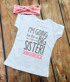 I'm Going to be a BIG SISTER Shirt - Matching Gold Foil Dot Headband - Big Sister Shirt - Announcement Shirt  www.VazzieTees.etsy.com www.VazzieTees.com