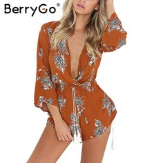 BerryGo Floral print elegant jumpsuit romper women Tassel backless waist tie v neck lace up overalls Summer beach playsuit 2017-in Rompers from Women's Clothing & Accessories on Aliexpress.com | Alibaba Group