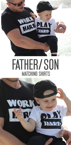 a895b8a4 Items similar to Work Hard Play Hard Tees/ Work Play Shirts, Father Son  Matching Shirts/ Fathers Day Gift/ Fathers Day/ Father Son Outfits/ Working  Hard on ...