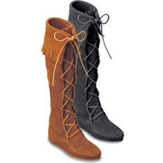 I love my Minnetonka boots! These are so comfy! :) Knee Hi Fringe Boot.  Soft suede leather fashioned into beautiful knee hi styles.Thin Crepe outsole, cushioned insoles.Cut from only the best leathers.