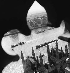 """"""" The Thames river, view from Westminster Abbey, London. Werner Bischof, 1950. """""""