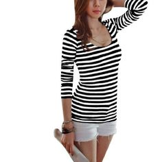 Allegra K Ladies Pullover Scoop Neck Leisure Stripes Spring Loose Shirt Black White XS Allegra K. $10.18