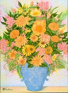 Sunny Bouquet - Watercolor Original. 22 X 30 inches on Arches 300 pound paper. victoria@victoriaguitar.net