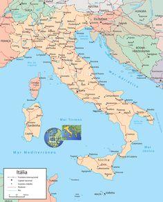 Mapa Itália, Principais Cidades - Roma, Veneza, Florença