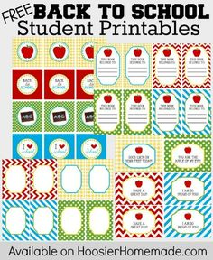 FREE Back to School Student Printables.CC and a set for giving to teachers