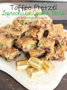 Toffee Pretzel Leprechaun Cookie Bars