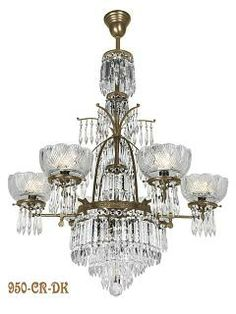 """Oxley Giddings 6 Light Crystal Chandelier Antique Finish (950-CR-DK) This sparkling crystal chandelier comes standard at 45"""" tall and a diameter of 34"""". It comes with a longer stem than is shown in the photo.There is a single tier of lights, with layer upon layer of crystals to add sparkle. Due to popular demand, we now offer the Oxley Giddings in an antique finish, which works well with bronze and oil rubbed bronze home hardware."""
