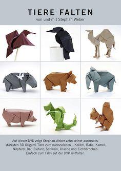 dvd animals stephan weber origami  Kimokame.com Origami Paper Art, Origami Box, Diy Paper, Origami Guide, Origami Dragon, Cardboard Sculpture, Paper Sculptures, Craft Packaging, Art Du Papier