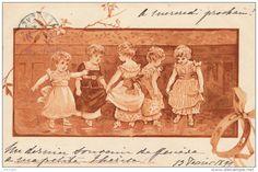 ENFANTS - LITTLE GIRL - MAEDCHEN - Jolie Carte Fantaisie Fillettes Esquissant Quelques Pas De Danse