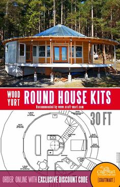 Round House Plans, A Frame House Plans, House Floor Plans, Modern Tiny House, Tiny House Cabin, Tiny House Design, House Tent, Dome House, Hurricane Proof House