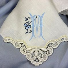 Personalized Bridesmaid Gift Monogrammed Handkerchief created in IVORY Linen with Venice Lace Motif Hankie 9102L