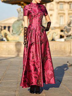 Shop Maxi Dresses - Burgundy Floral Casual Maxi Dress online. Discover unique designers fashion at StyleWe.com.