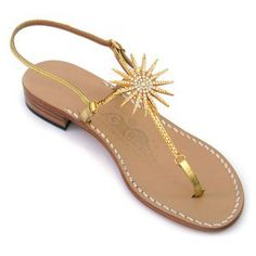 Capri style sandal with gold starbust.