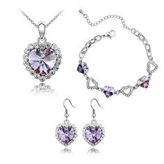 CASOTY 'True Love' Luxury Crystal Necklace Bracelets Earrings Set Jewelry Sets for Women Girls * For more information, visit now : Jewelry Sets
