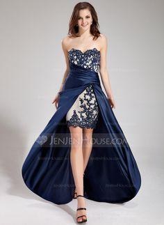 Prom Dresses - $152.99 - A-Line/Princess Sweetheart Asymmetrical Satin Prom Dress With Lace Beading Cascading Ruffles (018019168) http://jenjenhouse.com/A-Line-Princess-Sweetheart-Asymmetrical-Satin-Prom-Dress-With-Lace-Beading-Cascading-Ruffles-018019168-g19168